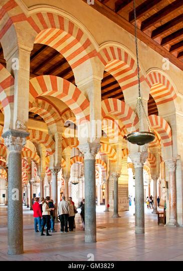 Mezquita Great Mosque Interior Arches In Cordoba, Spain.   Stock Image