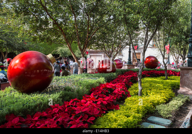 plaza, Jardin Zenea, adorned with Christmas decorations, in ...
