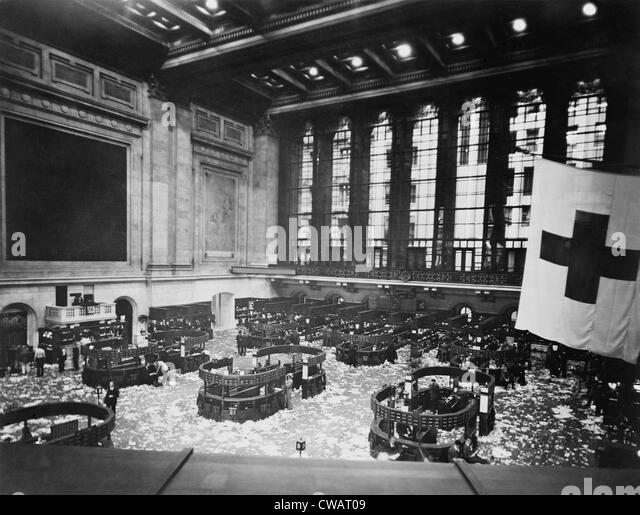 Littered Floor Of New York Stock Exchange After A Day Trading Session In  The Early 1920s