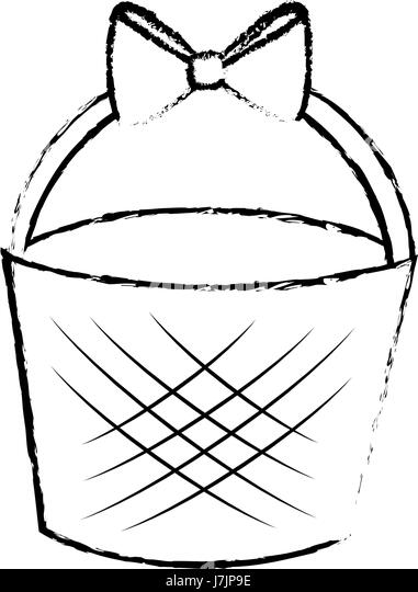 Basket With Easter Eggs Black And White Stock Photos Images