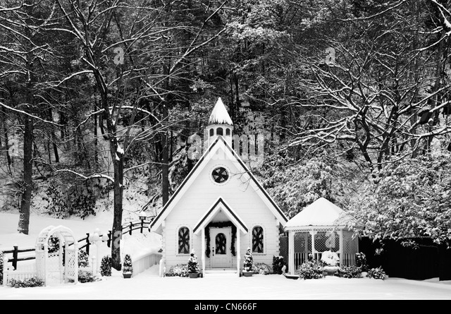 Wedding Chapel Gazebo And Fresh Snow In Gatlinburg Tennessee