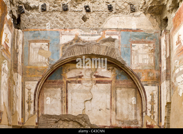 Mural ancient roman town herculaneum stock photos mural for Ancient roman mural