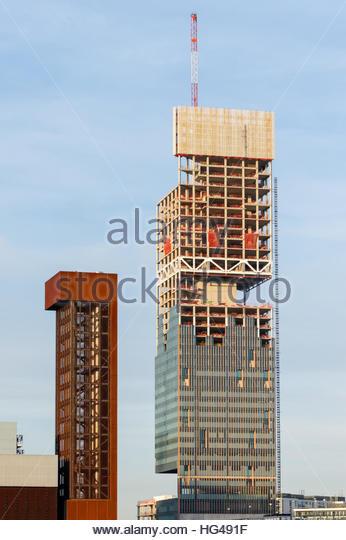 Construction of Manhattan Loft Gardens skyscraper at Stratford, London  England United Kingdom UK - Stock