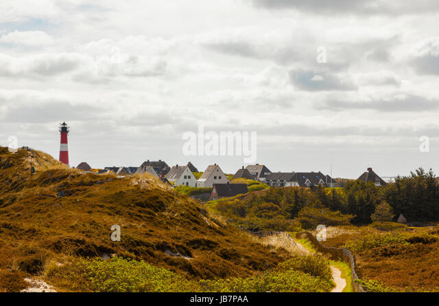 Sylt, village and lighthouse of Hörnum - Stock Image