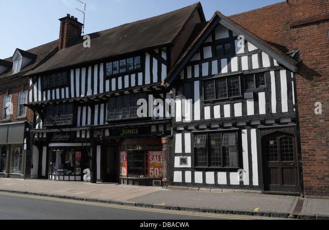 Tudor Half Timber framed shop building, Stratford Upon Avon - Stock Image