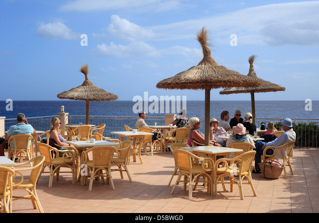 Cala Figuera Spain  City pictures : Cala Figuera, Spain, tourists on the terrace of a cafe in Cala Figuera ...