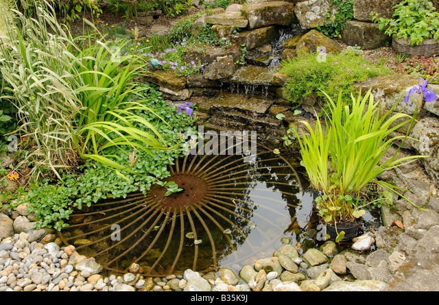 Small Garden Pond With Rustic Wheel Feature And Waterfall   Stock Image