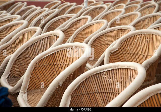 rows of cane chairs surajkund mela haryana india asia stock image