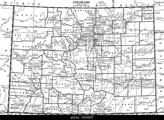 Old Map Colorado State S Black And White Stock Photos Images - Map of colorado state