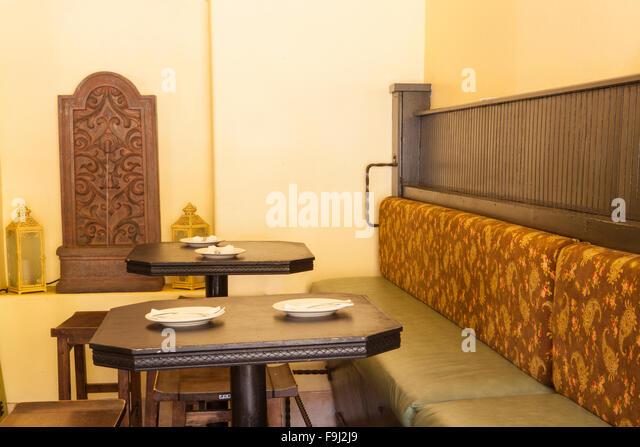 Restaurant plates interior stock photos