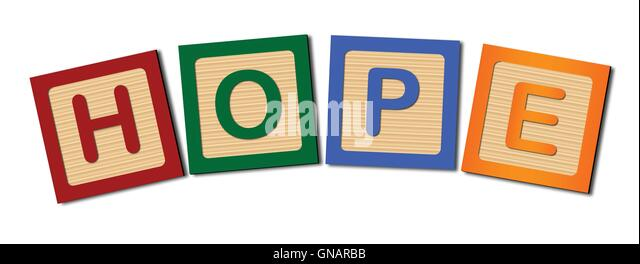 block letters hope stock image