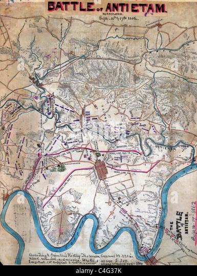 Map Of Battle Of Antietam Sharpsburg During Usa Civil War Showing Troop Positions