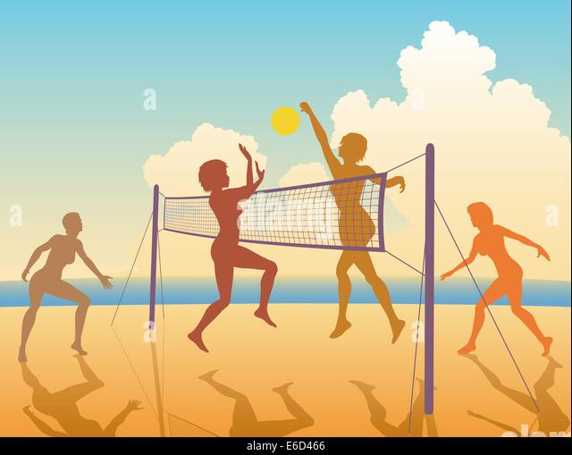 Volleyball Beach Stock Vector Images
