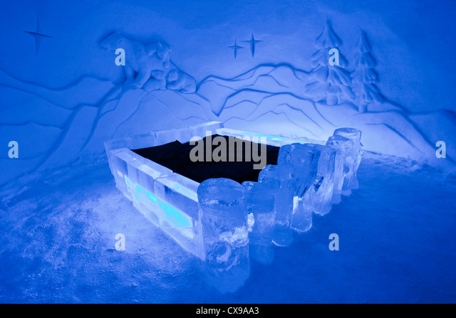 art suite in the ice hotel in yllsjrvi finland stock image