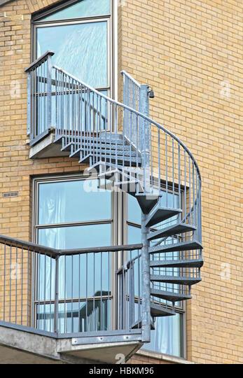 Exterior Spiral Emergency Exit Staircase Stock Photos & Exterior ...