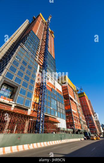The Hudson Yards construction site (2017) from 11th Avenue. Midtown, Manhattan, New York City - Stock Image