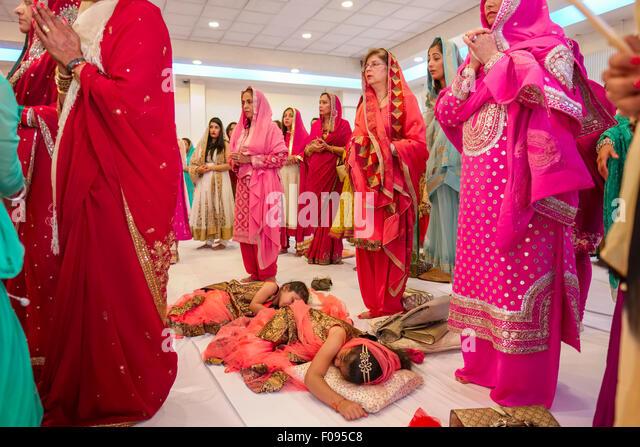 Two Sleeping Children At A Sikh Wedding Ceremony Brent Gurdwara London