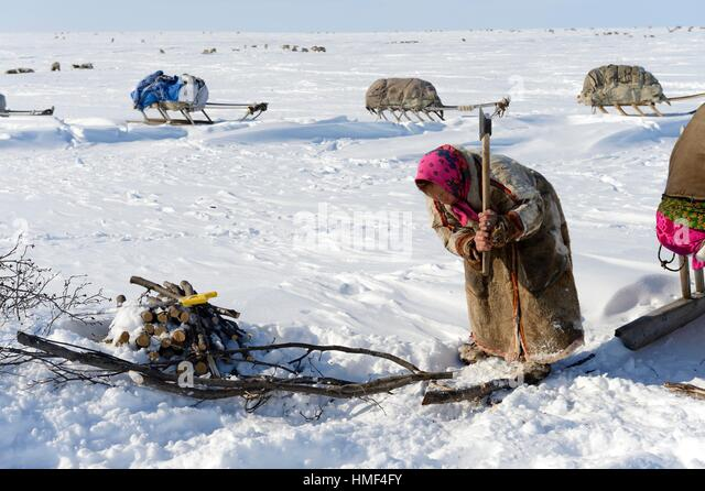 nenets woman cutting firewood - photo #16