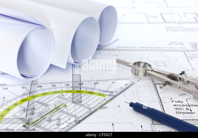 Architectural building plans blueprint stock photos still life photo of architectural floor plans with drawing instruments stock image malvernweather Image collections
