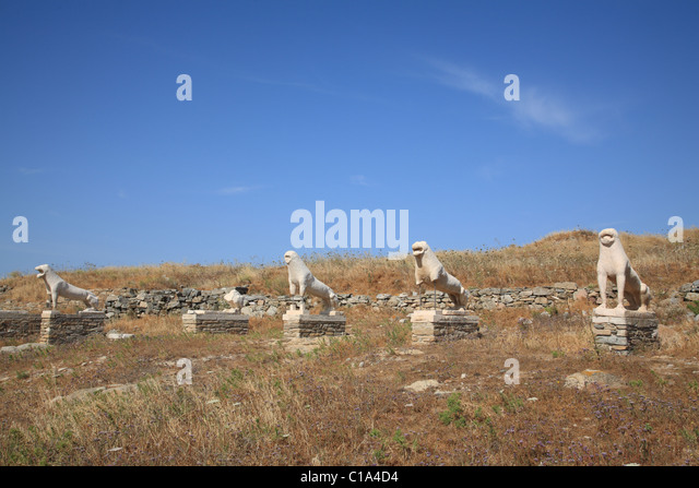 Naxian Lion Statues, Terrace Of The Lions, Delos, Cyclades ...