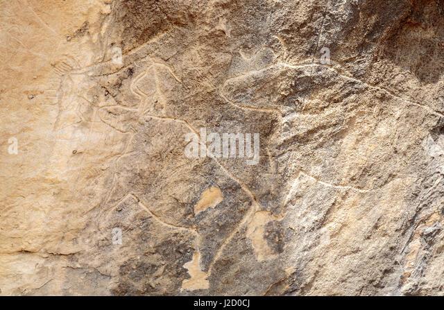Qobustan petroglyph petroglyphs azerbaijan stock photos
