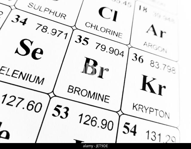 Bromine chemical element stock photos bromine chemical element bromine on the periodic table of the elements stock image urtaz Gallery