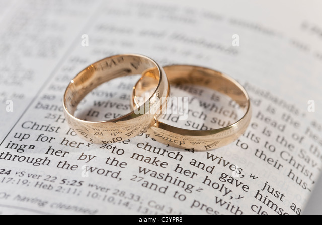Two Wedding Rings On Vows   Stock Image Idea
