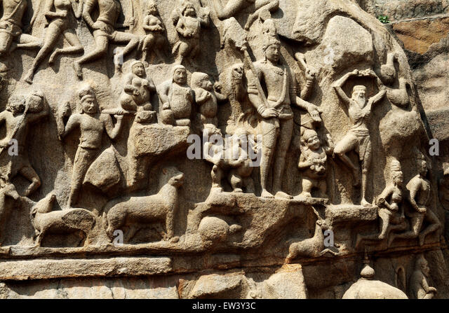 Mamallapuram stone carving stock photos
