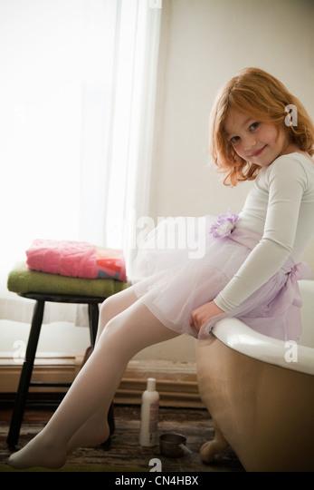 Portrait Of Girl In Bathroom   Stock Image