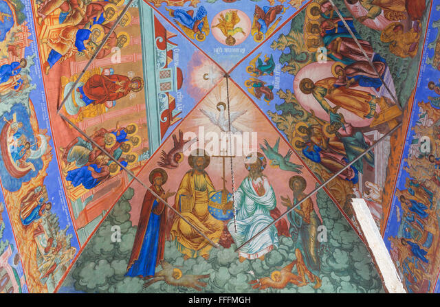 Fresco of the nativity stock photos fresco of the for Church mural painting