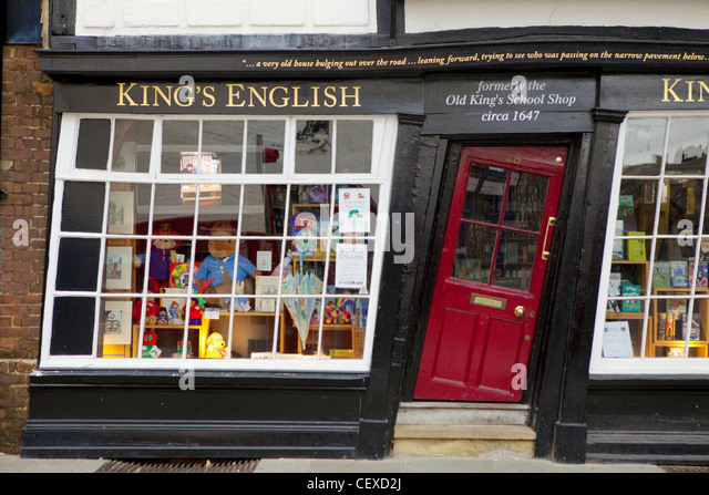 A view of the crooked door of a shop in Canterbury - Stock Image