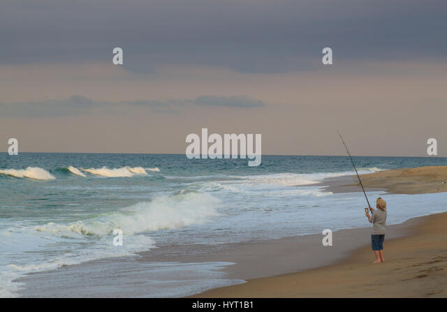 Surf fishing stock photos surf fishing stock images alamy for Surf fishing outer banks