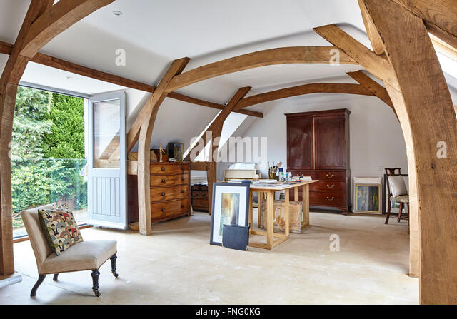 Exposed interiors stock photos exposed interiors stock for Vaulted ceiling exposed beams