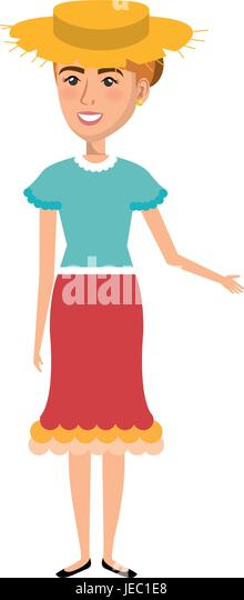 Woman In Farmer Costume Vector Illustration Design Stock Vector Art