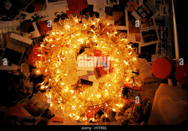 Eco and creative christmas wreath display using by recycle materials stock image