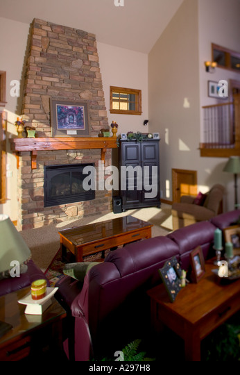 Interior Living Room Of Upper Middle Class Home Fort Collins, Colorado.    Stock Image