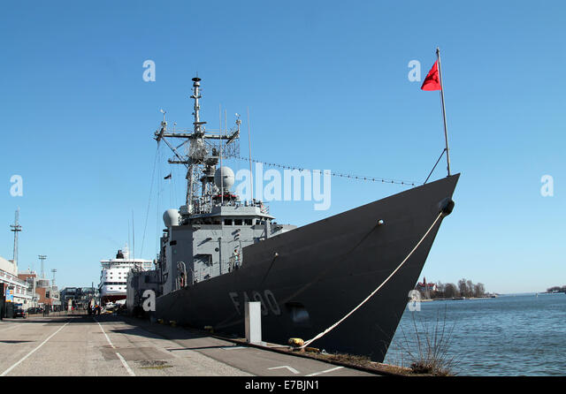 turkish g class frigate in helsinki stock image