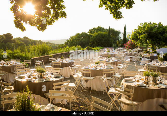 Wedding setup in South of France - Stock Image & Wedding Table Setup Stock Photos u0026 Wedding Table Setup Stock Images ...