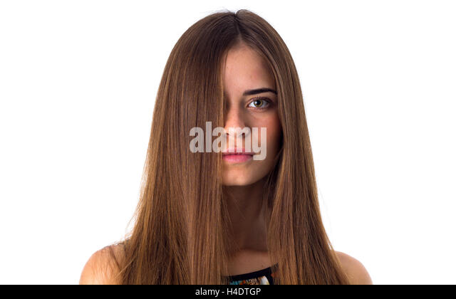 Female Long Straight Chestnut Hair Stock Ptos