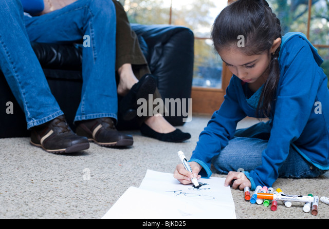 Young Girl Coloring Markers Stock Photos & Young Girl Coloring ...