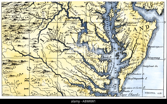 Map Of Virginia And Maryland Colonies Settled In 1738 Stock Image