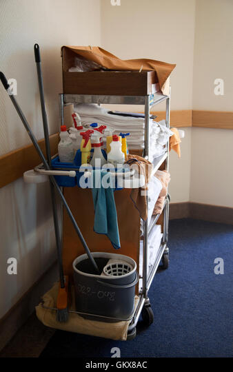 Hotel Cleaning Cart In Passage