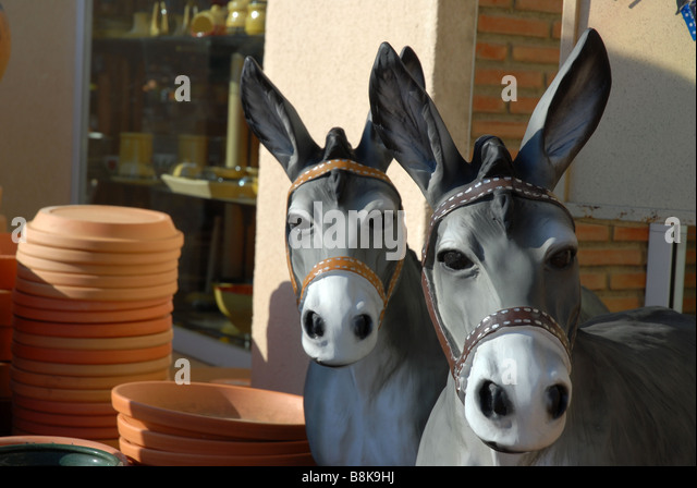 Amazing Garden Statue Of Two Donkeys, Javea / Xabia, Alicante Province, Comunidad  Valenciana,