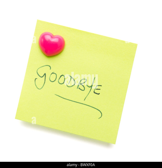Goodbye Message On Paper Note Stock Photos  Goodbye Message On