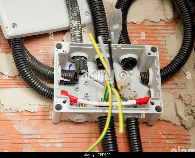conduit box stock photos conduit box stock images alamy electrical coil conduit pipe on box messy cables installation