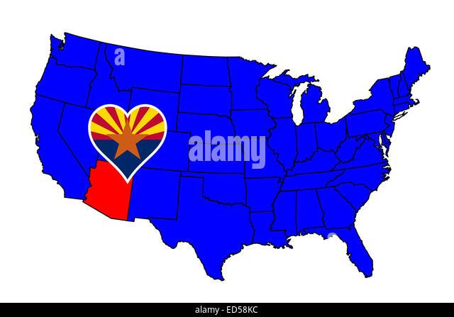 Arizona State Flag Icon Stock Photos Arizona State Flag Icon - Arizona state in usa map