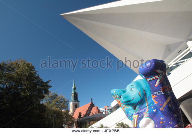 The story of the Buddy Bears started with an artistic event in Berlin in 2001. Inspired by the cow parade in Zurich - Stock Image
