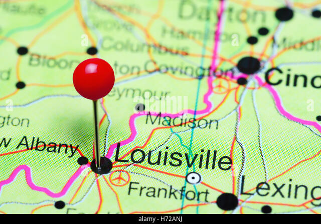 Louisville Pinned On A Map Of Kentucky Usa Stock Image