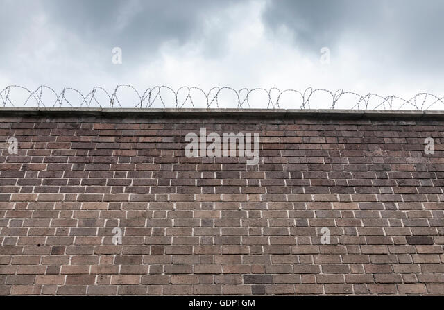 Barbed wire wall stock photos