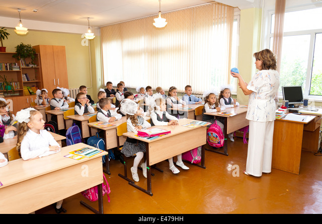 Elementary Classroom Students : Russian school girls stock photos